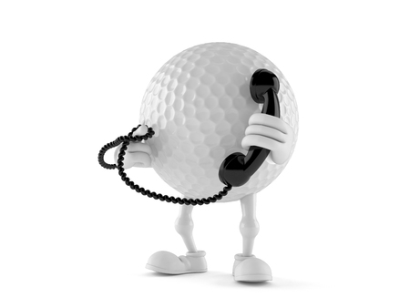 Golf ball character holding a telephone handset isolated on white background Stok Fotoğraf