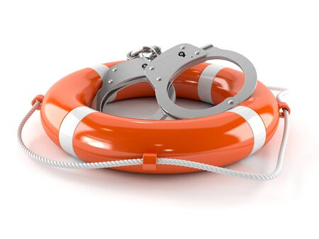 Life buoy with handcuffs isolated on white background