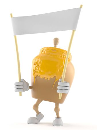 Honey jar character holding blank banner isolated on white background Stock Photo