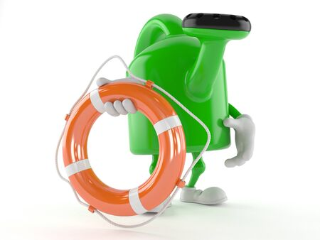 Watering can character holding life buoy isolated on white background Stock Photo