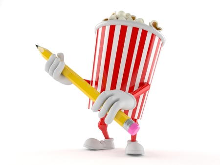 Popcorn character holding pencil isolated on white background