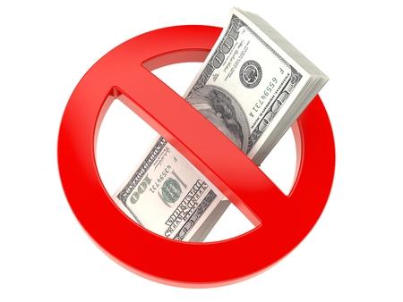 Money inside forbidden sign isolated on white background