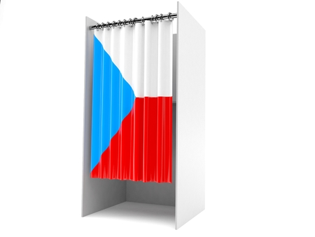 Vote cabinet with czech republic flag isolated on white background Banco de Imagens