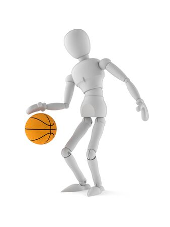 White dummy character playing basketball on white background Stock Photo