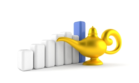 Magic lamp with chart isolated on white background Stock Photo