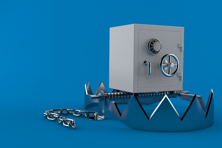 Bear trap with safe isolated on blue background Stock Photo