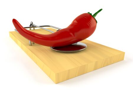 Hot paprika with mousetrap isolated on white background Stock Photo