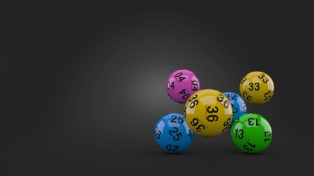 Lottery balls on gray background
