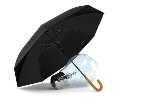 Umbrella with light bulb isolated on white background Imagens
