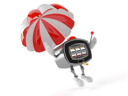 Slot machine character with parachute isolated on white background