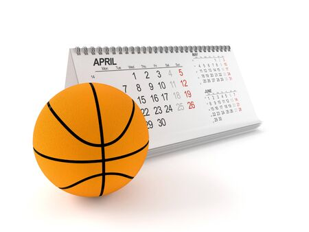 Basketball with calendar isolated on white background Stock Photo