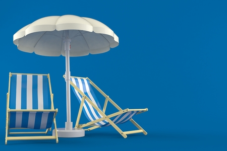 Umbrella with deck chairs isolated on blue background Stock Photo