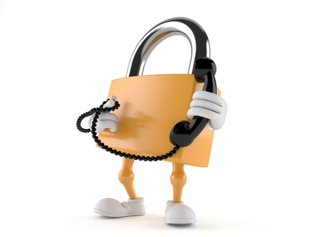 Padlock character holding a telephone handset isolated on white background