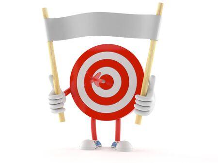 Bulls eye character holding blank banner isolated on white background Stock Photo