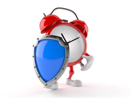 Alarm clock character with shield isolated on white background