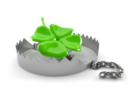 Bear trap with four leaf clover isolated on white background