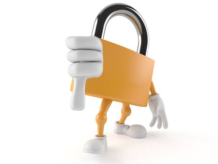 Padlock character with thumb down isolated on white background