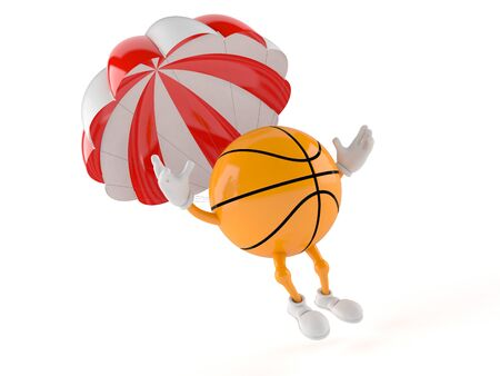 Basketball character with parachute isolated on white background