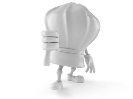 Chef character with thumb down isolated on white background
