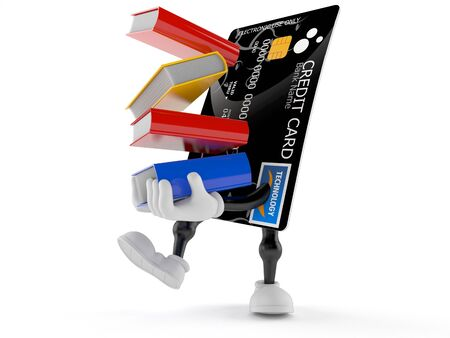 Credit card character carrying books isolated on white background