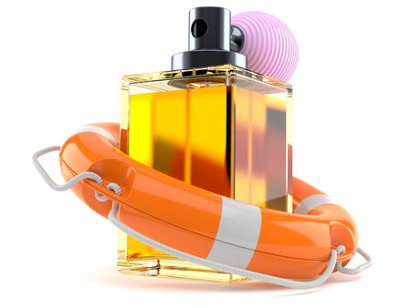 Perfume bottle with life buoy isolated on white background Stock Photo