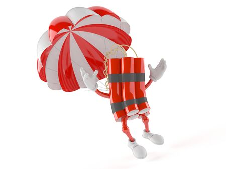 Dynamite character with parachute isolated on white background Stock Photo