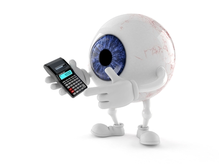 Eye ball character using calculator isolated on white background Stock Photo