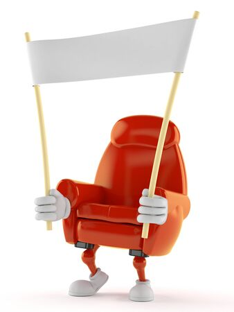 Armchair character holding blank banner isolated on white background Stock Photo