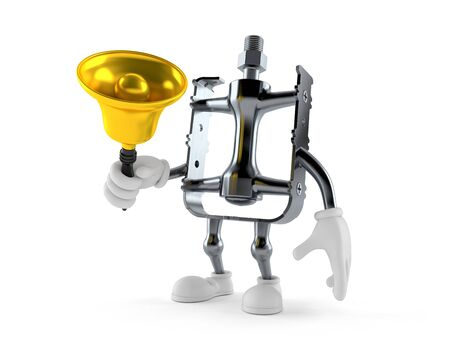 Bicycle pedal character holding a hand bell isolated on white background Stockfoto