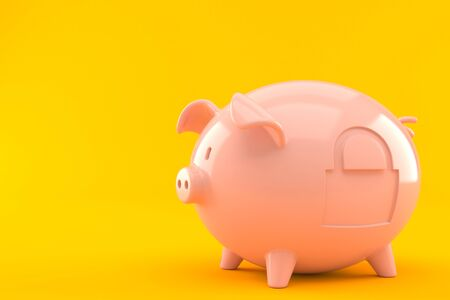 Piggy bank with padlock isolated on orange background Stock Photo
