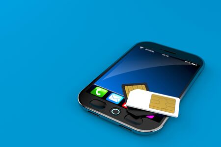 Smart phone with SIM card isolated on blue background Stock Photo