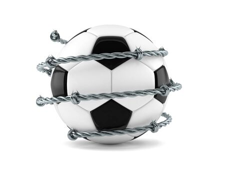Soccer ball with barbed wire isolated on white background