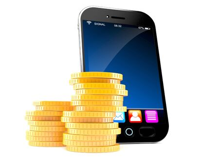 Smart phone with stack of coins isolated on white background Stock Photo