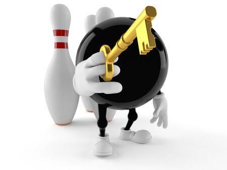 Bowling character holding key isolated on white background