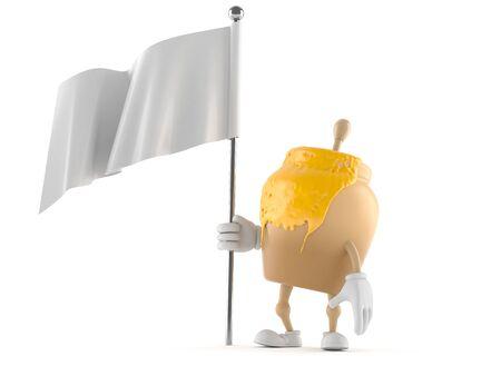 Honey jar character holding white flag isolated on white background Stock Photo
