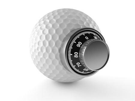 Golf ball with combination lcok isolated on white background