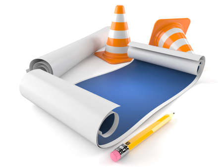 Blueprints with traffic cones isolated on white background