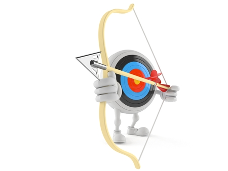 Bulls eye character aiming with bow isolated on white background Stock Photo