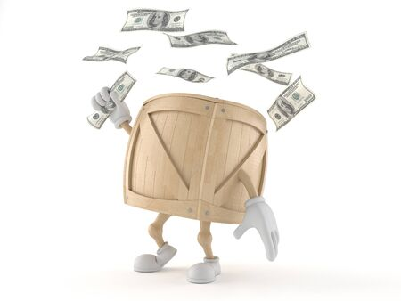 Crate character with money isolated on white background