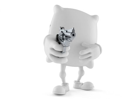 Pillow character aiming a gun isolated on white background