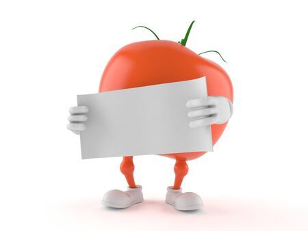 Tomato character with blank paper isolated on white background