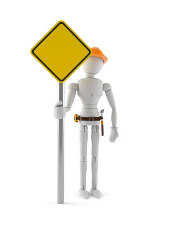 White dummy with blank road sign isolated on white background Stock Photo