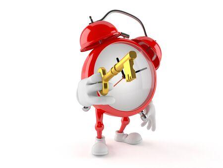 Alarm clock character holding door key isolated on white background