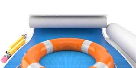 Life buoy lies on blueprint on white background