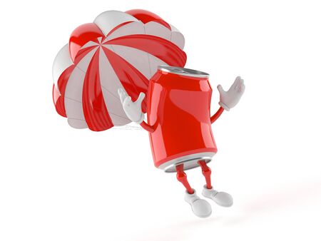Soda can character with parachute isolated on white background