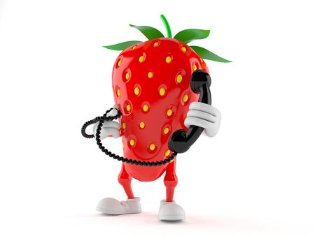 Strawberry character holding a telephone handset isolated on white background