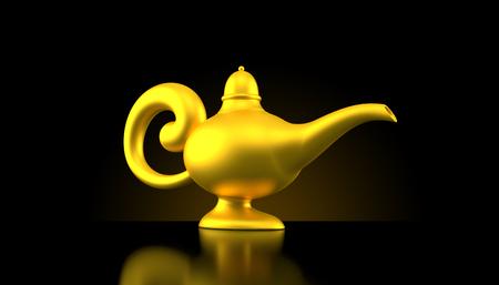 Magic lamp on black background Stock Photo
