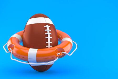 Rugby ball with life buoy isolated on blue background