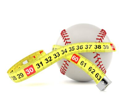 Baseball ball with centimeter isolated on white background