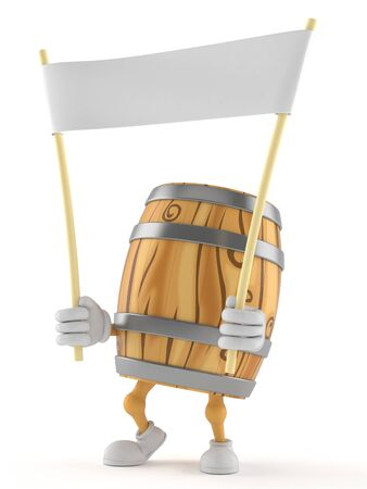 Cask character holding blank banner isolated on white background